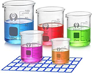5 Pack Glass Graduated Measuring Beaker Set 5ml 10ml 25ml 50ml 100ml Thick Glass Borosilicate Low Form Lab Beakers