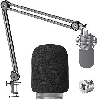 AT2020 wysięgnik na mikrofon stojak z filtrem Pop - profesjonalne ramię wysięgnika do Audio-Technica AT2020 Mic z pianką m...