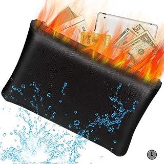 "BEIKOTT Fireproof Document Bags, Fireproof Money Bag, 13.8"" x 9.4"" Waterproof Fireproof Safe Storage Pouch with Zipper for..."