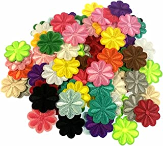 RayLineDo 100PCS Assorted Color Small Flower Patch Stickers Embroidery Badge Iron On Applique Patch for Bags Jackets Tablecloth Bedsheets