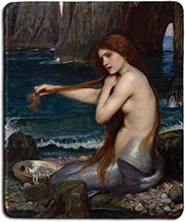 dealzEpic - Art Mouse Pad - Natural Rubber Mousepad with Famous Fine Art Painting of A Mermaid by John William Waterhouse - Stitched Edges - 9.5x7.9 inches