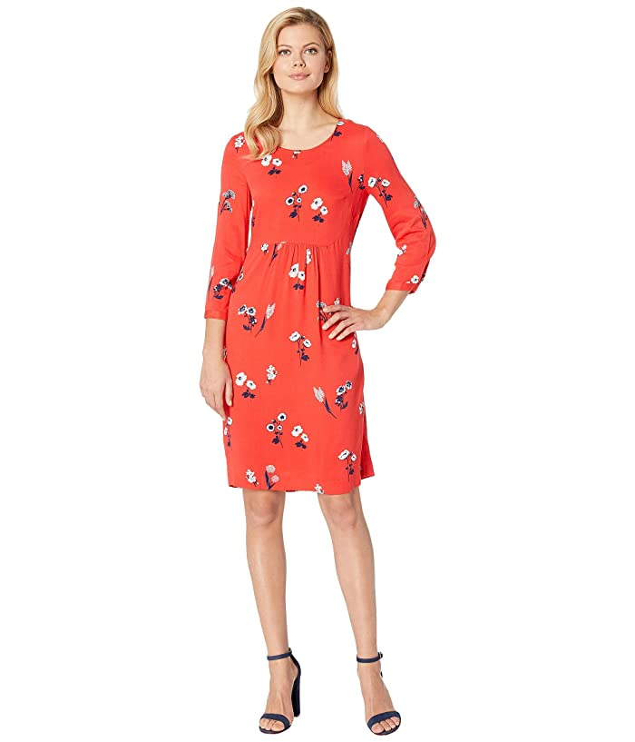 Joules Alison Long Sleeve Woven Dress (Red Floral) Women