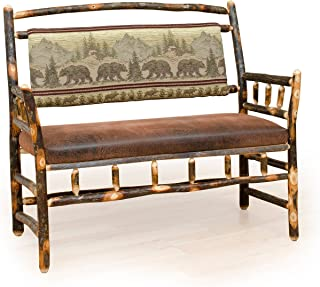 Furniture Barn USA Rustic Hickory Upholstered Deacon Bench - Bear Mountain Fabric - Amish Made