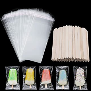 100 Pieces Popsicle Bags Ice Cream Bags Clear Ice Pop Plastic Bags and 100 Pieces Wooden Popsicle Sticks Ice Pop Sticks fo...