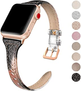 SWEES Leather Band Compatible for Apple Watch iWatch 38mm 40mm, Slim Thin Genuine Leather Strap Compatible iWatch Series 5 Series 4 Series 3 Series 2 Series 1 Sport Edition Women, Snake Black/Gold