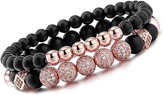 8mm Charm Beads Bracelet for Men Women Black Matte Onyx Natural Stone Beads, 7.5