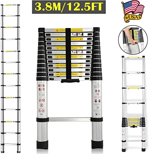 12.5Ft Telescoping Ladder for RV Home Office Loft Roof 330lb Load Capacity 12 Steps Extendable Aluminium 88CM to 3.8M with Independent Locking