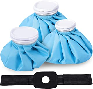 Ice Bag, Cold Pack Reusable Cold Bag Hot Water Bags for Injuries with Adjustable Wrap, Hot & Cold Therapy and Fast Pain Relief, 4-Pack, 3 Sizes (6