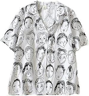 [トーダー] アロハシャツ ビーチシャツ ハワイアンシャツ レディース プリント Vネック 薄手 半袖 ゆったり 夏