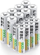 EBL 16 Pack AA AAA Pilas Recargables, 8 x Pilas AA Recargables 2300mAh y 8 x Pilas AAA Recargables 800mAh