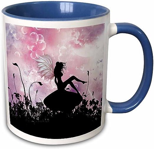 3drose Sitting On A Mushroom A Pink Black Fairy Silhouette Two Tone Mug 11 Oz Kitchen Dining Amazon Com