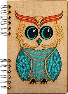 KOMONI - Carnet en bois - Papier recyclé - Bullet Journal - Journal - Journal - Wise Owl (Gelinied, A4)