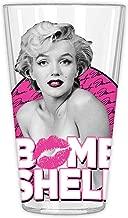 Marilyn Monroe MR121466B Bombshell Pink Lips Pint Glass in Gift Box, 16-Ounce, Clear