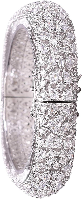 Ratnavali Jewels CZ Zirconia Openable Bracelet Gold Tone White R
