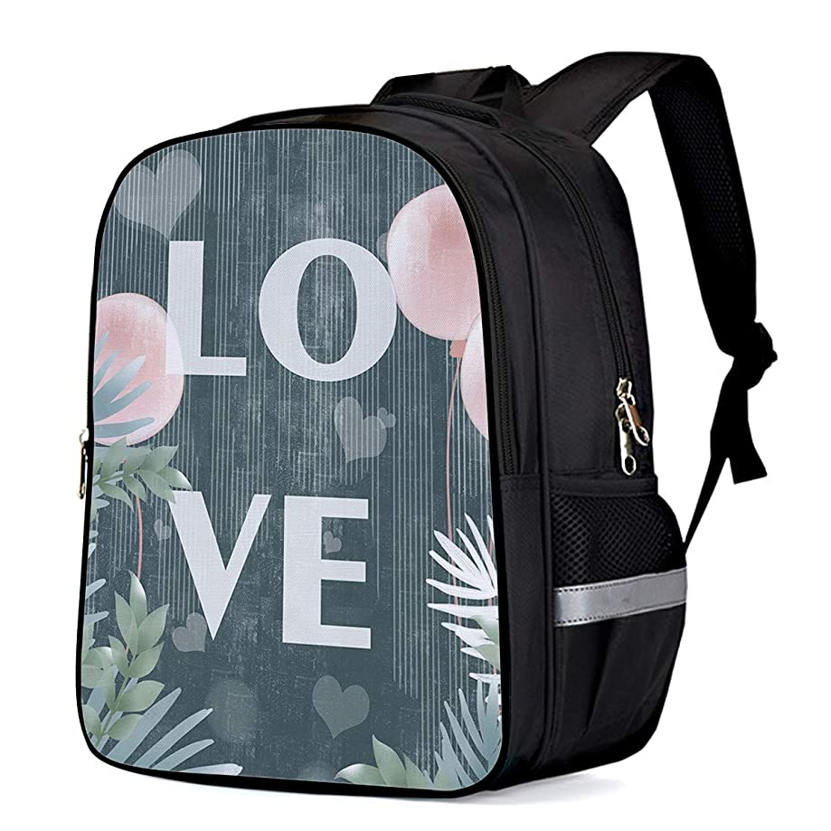 School Backpack Travel Rucksack Students Backpacks College Book Bags for Girls and Boys, Romance Love Balloon and Tropical Leaves