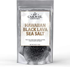 Hawaiian Black Lava Sea Salt 6 Ounce Refill Pouch - All-Natural Unrefined Hawaiian Sea Salt Infused with Activated Charcoal - Gorgeous Finishing Salt - No Gluten, No MSG, Non-GMO - Caravel Gourmet