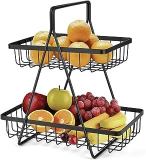 2 niveaux de fruits etagere, bol de fruits Corbeille corbeilles à fruits, Manche en fer stockage corbeilles à pain, légume...