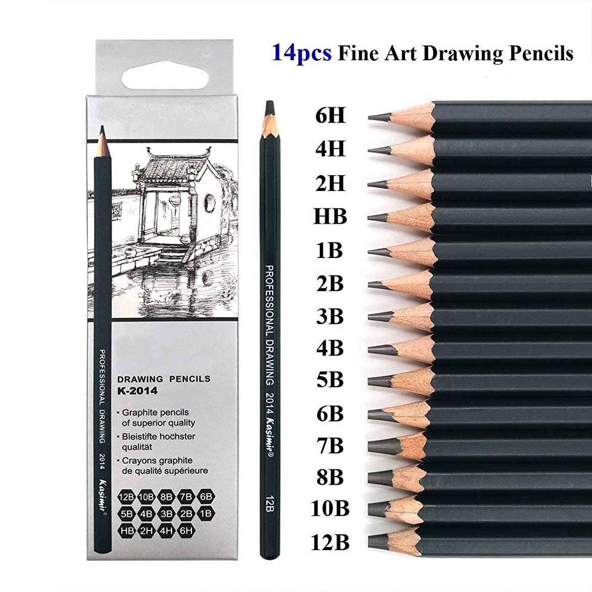 Sketching Pencils Set - 14 Pieces Drawing Pencils 6H, 4H, 2H, HB, B, 2B, 3B, 4B, 5B, 6B,7B, 8B, 10B, 12B