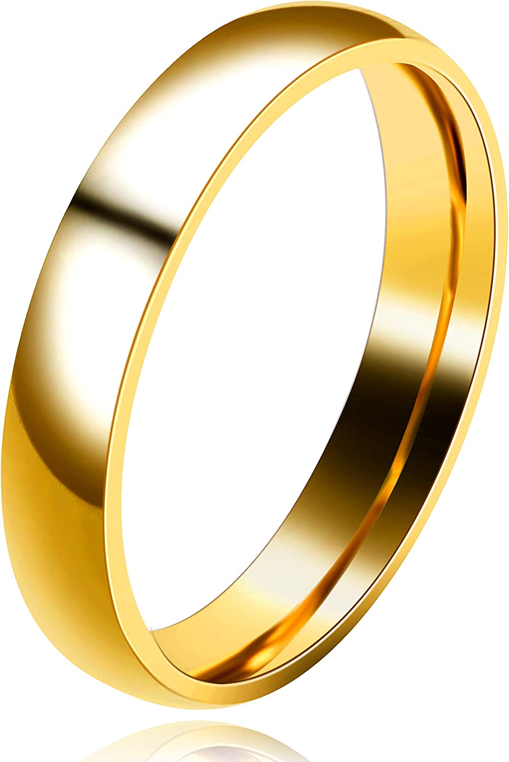 Uloveido 3mm 4mm Complete Free Shipping Gold Stainless Matchin Bands Plain Max 75% OFF Fit Comfort
