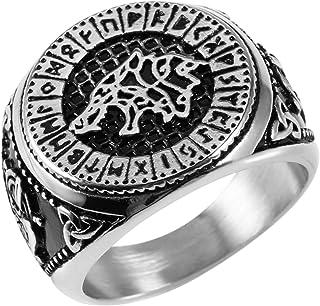 HZMAN خاتم مجوهرات رجالي مصنوع من الفولاذ المقاوم للصدأ Valknut Viking Odin رون وولف الطوطم