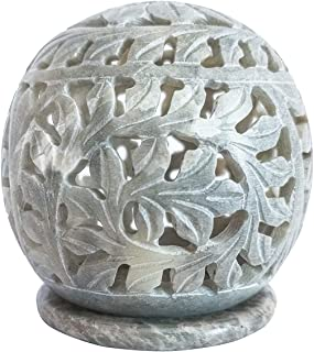 Nirvana Class Hand Carved Tealight Holder Sphere Shaped Made from Soapstone with Intricate Tendril Openwork Floral Decorat...