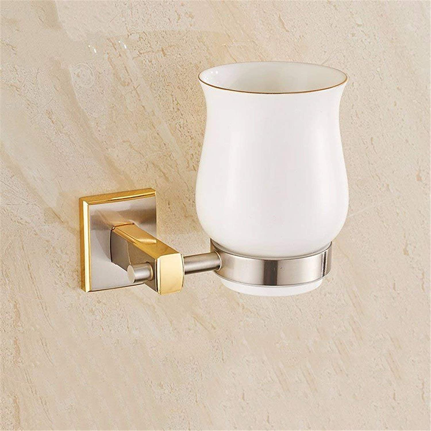 Simple Design of a Copper-gold Set Bathroom Accessories Toilet Paper Rack Soap Solid Hook,Single Cup