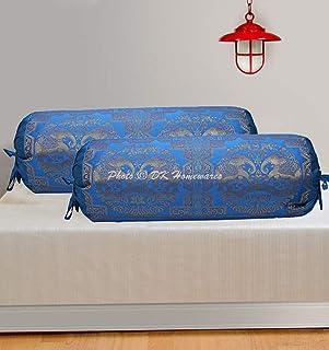 DK Homewares Traditionnel Chambre des Enfants Yoga en Soie Polydupion Taies d'oreiller cylindriques 15 x 30 Brocart Jacqua...