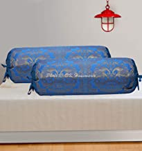 DK Homewares Polydupion Silk Banarasi Elephant Floral Diwan Bolster Covers Turquoise Gold 30 x 15 inch (76x38 cm) Brocade Jacquard Home Decor Ethnic Cylindrical Massand Pillow Covers   (Set of 2 Pcs)