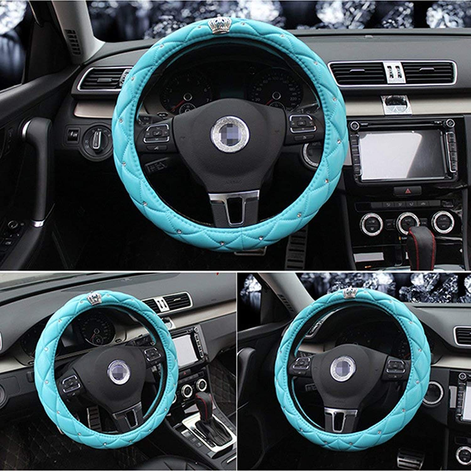 Cdycam Non-slip Universal PU Leather Car Steering Wheel Cover with Crystal Crown Diamond,Durable, Soft, 15 inch Size (Blue)
