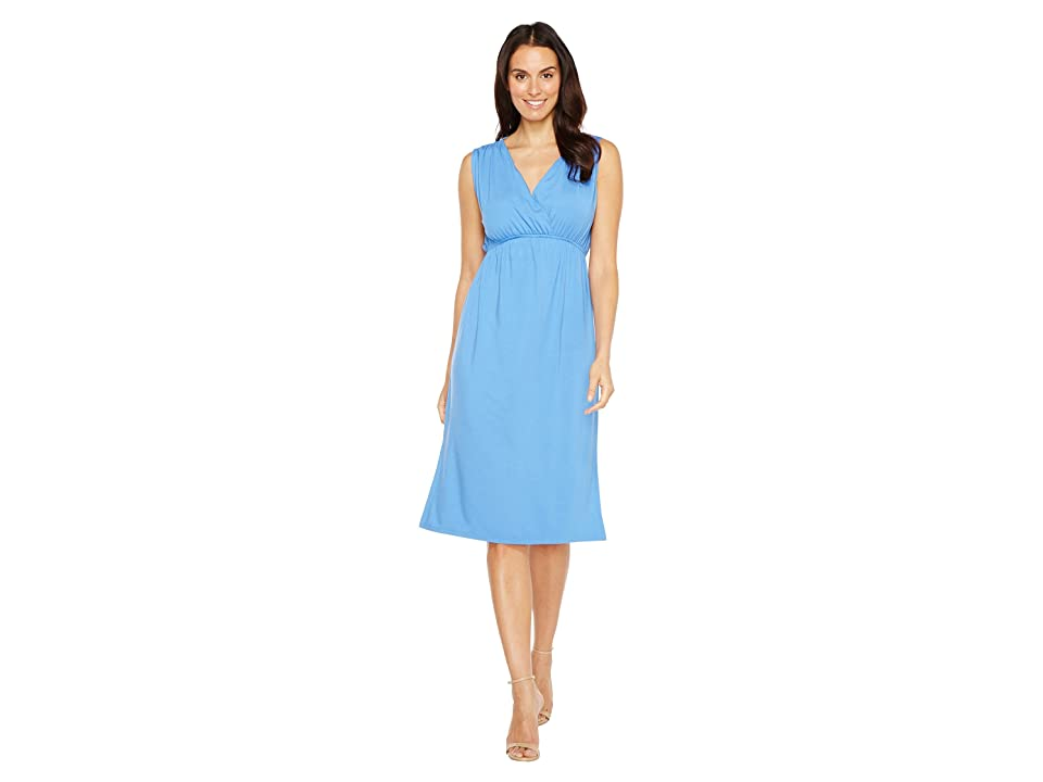 Lilla P Shirred Shoulder Midi Dress (Periwinkle) Women