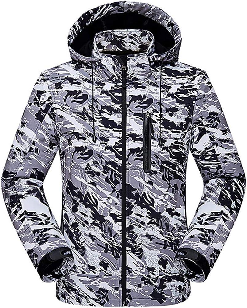 QZUnique Men's Outdoor Waterproof Camouflage Softshell Fleece Lining Hooded Jacket Tactical Hoodie Coat Windbreaker