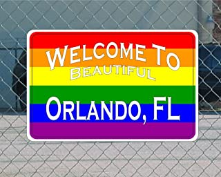 Welcome to Orlando Florida Highway Metal Road Sign Rainbow 12x18 GLBT Gay Pride