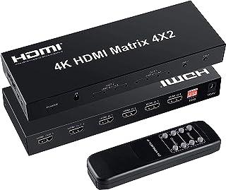 FERRISA 4x2 HDMI Matrix Switch,4 in 2 Out Matrix HDMI Video Switcher Splitter +Optical & L/R Audio Output,Support Ultra HD...