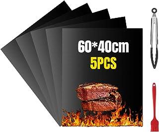 VLVEE Set de 5 Tapis de Cuisson Tapis BBQ Barbecue Plaque Feuille de Cuisson Four,Réutilisable Nettoyable, 40 * 60cm pour ...