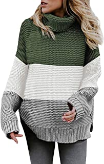 FEISI22 Womens Long Sleeve Turtleneck Chunky Knit Pullover Sweater Tops Petite Plus Pullover Sweaters