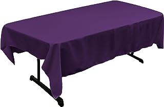LA Linen Polyester Poplin Rectangular Tablecloth, 60 x 84, Purple