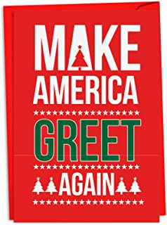 12 'Trump Greet Again' Boxed Christmas Cards with Envelopes 4.63 x 6.75 inch, Donald Trump Christmas Notes, Funny President Holiday Cards, Political Humor, MAGA Christmas Stationery C4284XSG-B12