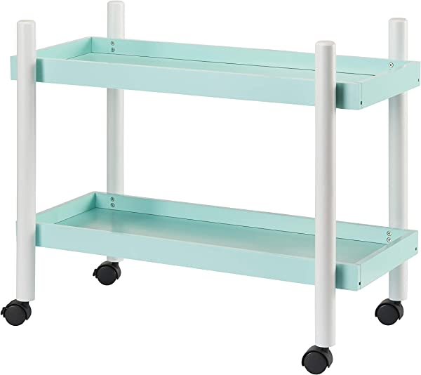 Mainstays Kids Playroom Bedroom Furniture Portable 2 Tier Shelf Toy Storage Organizer Rolling Cart With Wheels Mint