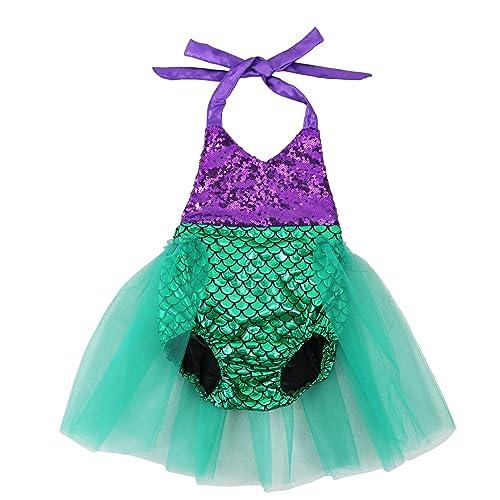 e4c9a15a81b3 Wennikids Baby Girls Sequins Mermaid Bodysuit Romper Jumpsuit Summer  Sunsuit Outfits