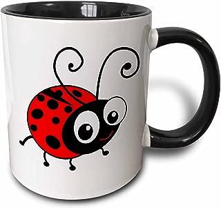 3dRose mug_113181_4 Cute ladybug kawaii happy red and black spotted ladybird cartoon lady bug insect on white Two Tone Black Mug, 11 oz, Black/White