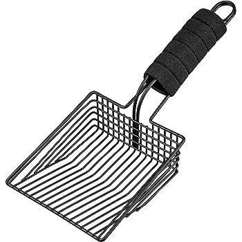 BasicForm Fast Sifting Cat Litter Scoop – Stainless Steel Metal Cat Litter Scooper with Deep Shovel, Durable Cat Poop Scooper - Comfy Foam Handle