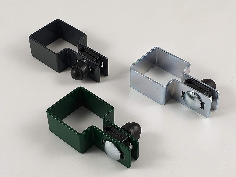 Juego de 3 abrazaderas de extremo cuadradas, 40 x 40 mm, para alambre de 4 mm de diámetro, color verde