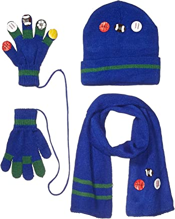 Kidorable Black Noahs Ark Soft Knit Hat//Scarf//Glove Set With Five Fun Puppet Animals