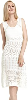 Hawaii Hangover Crochet Beach Mid Length Knit Cover up Dress in Cream White