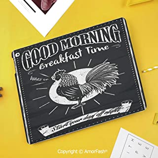 Case for Samsung Galaxy Tab S4 10.5 T830 T835 T837 Kids Safe Shockproof,Kitchen Decor,Chalkboard Kitchenware Menu Art Morning Rooster Retro Style Cafe Home Design Utensils,Black White