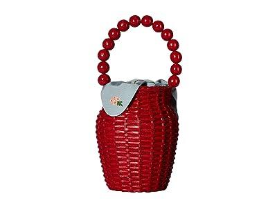 Loeffler Randall Wicker Bucket Tote (Bright Red/Rain) Handbags
