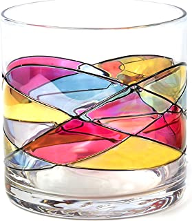 ANTONI BARCELONA Whiskey Bourbon Glass 12Oz SET 1 Sagrada Red Line Hand Painted Mouth Blown Unique gifts & presents dad birthday spiritual moments stunning and gorgeous colorful old fashioned on Rocks