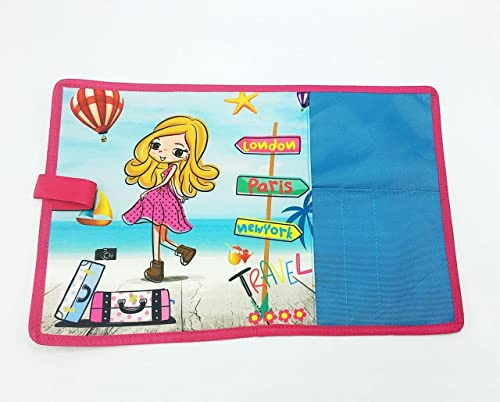 Shopaholic Printed Dinner Placemats/tablemats for Kids/Teenagers(Many Design Available) (Travel Girl-Blue)