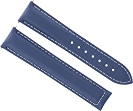 18MM LEATHER STRAP BAND FOR OMEGA SEAMASTER PLANET SPEEDMASTER MOON BLUE WS