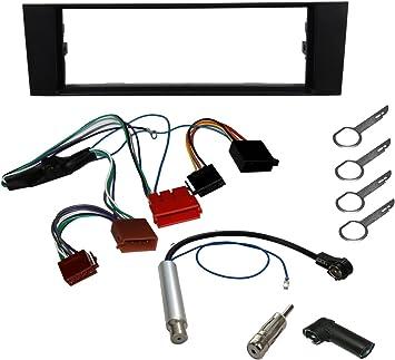 AERZETIX - Kit de montaje de Radio de Coche estándar - 1DIN - Marco, Cable enchufe, Adaptador de antena, Llaves extraccion para autoradio, ...